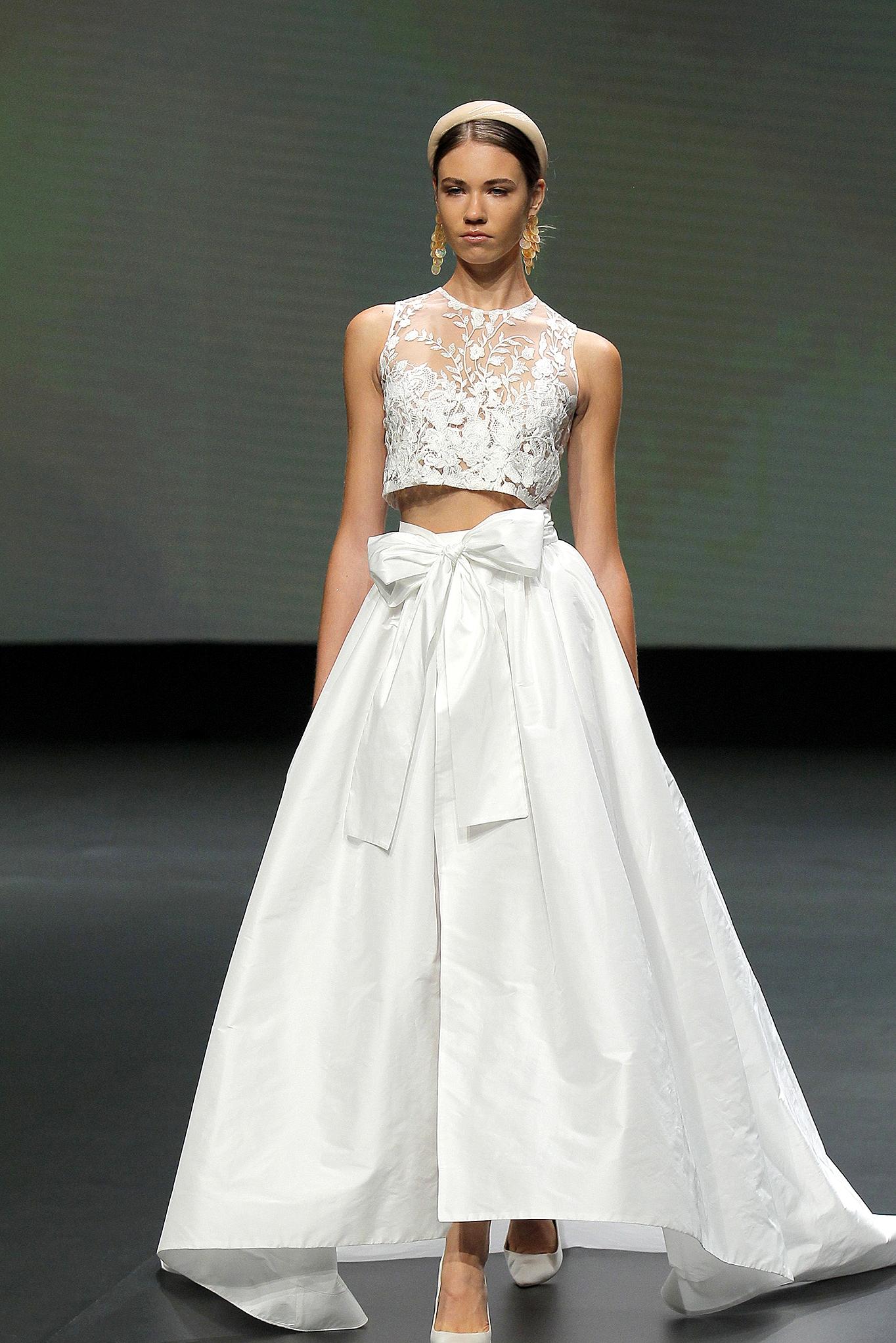 two piece wedding dress with bow