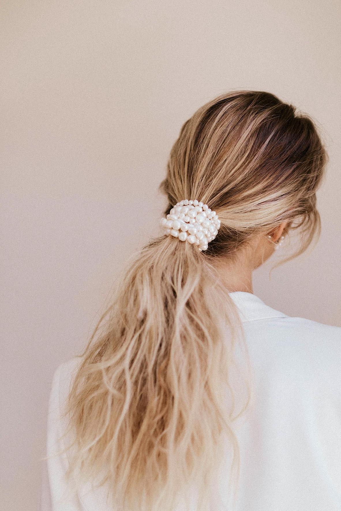low pony bridal hair ideas pearls