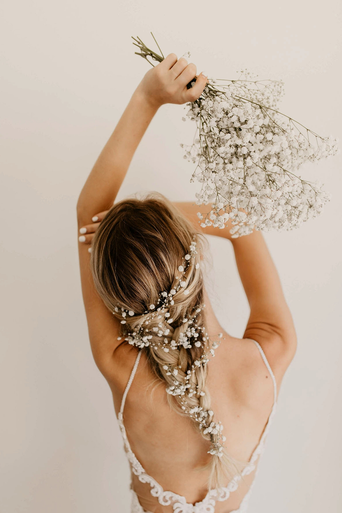 flower crown, bridal crown, flowers in hair, babies breath, Wedding Hairstyles with Flowers