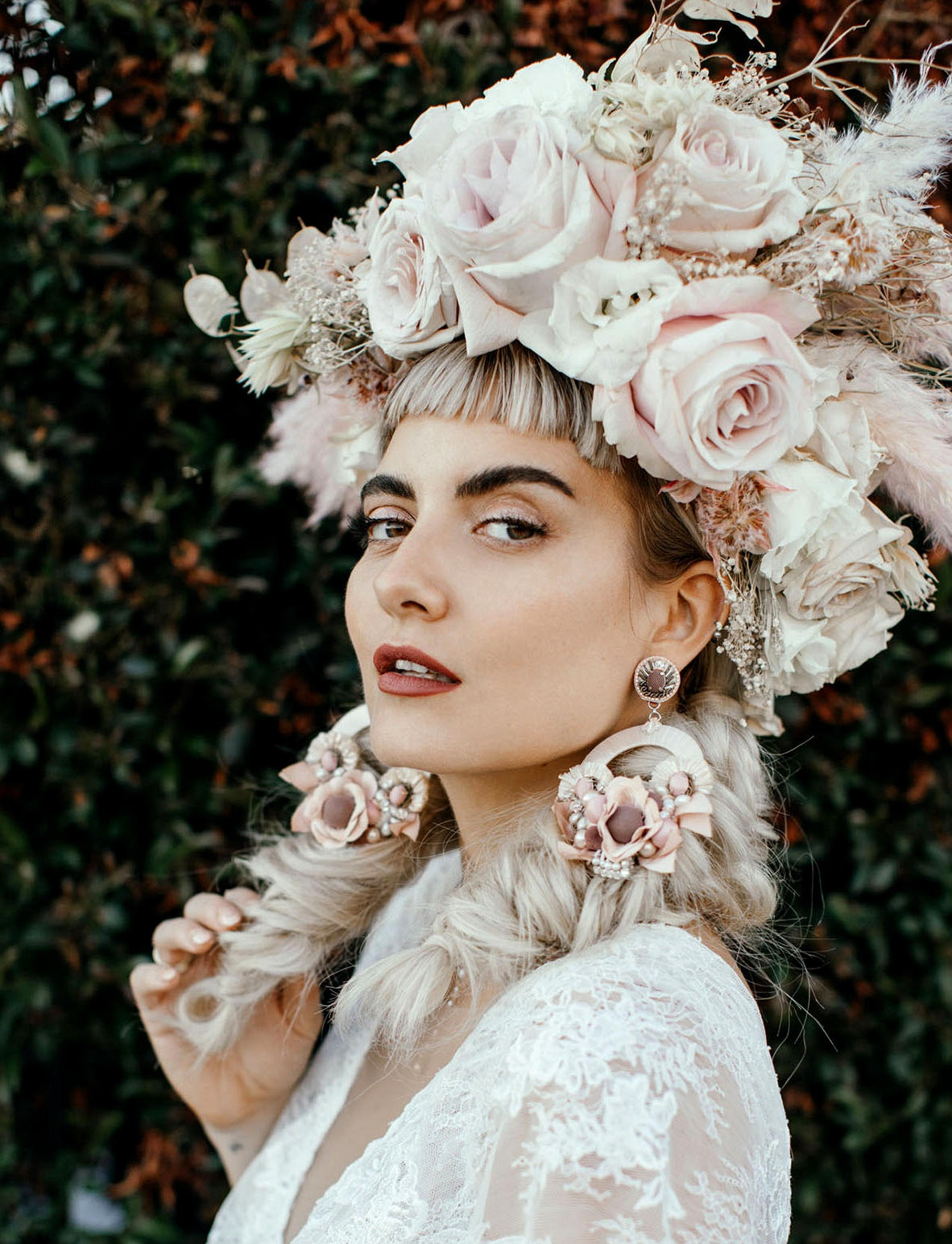 bridal floral hairpiece