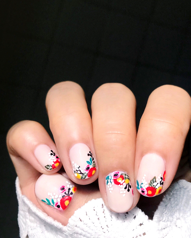colorful floral manicure