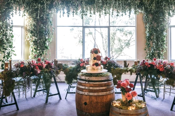 Whimsical garden wedding reception styling