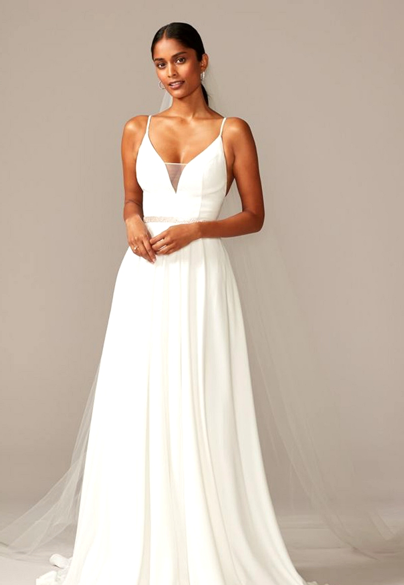 David's Bridal Simple Modern Wedding Dress