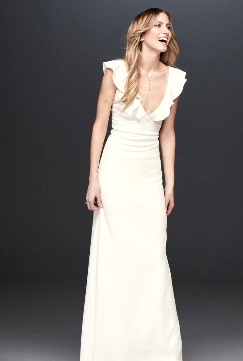 David's Bridal Ruffle Crepe Gown