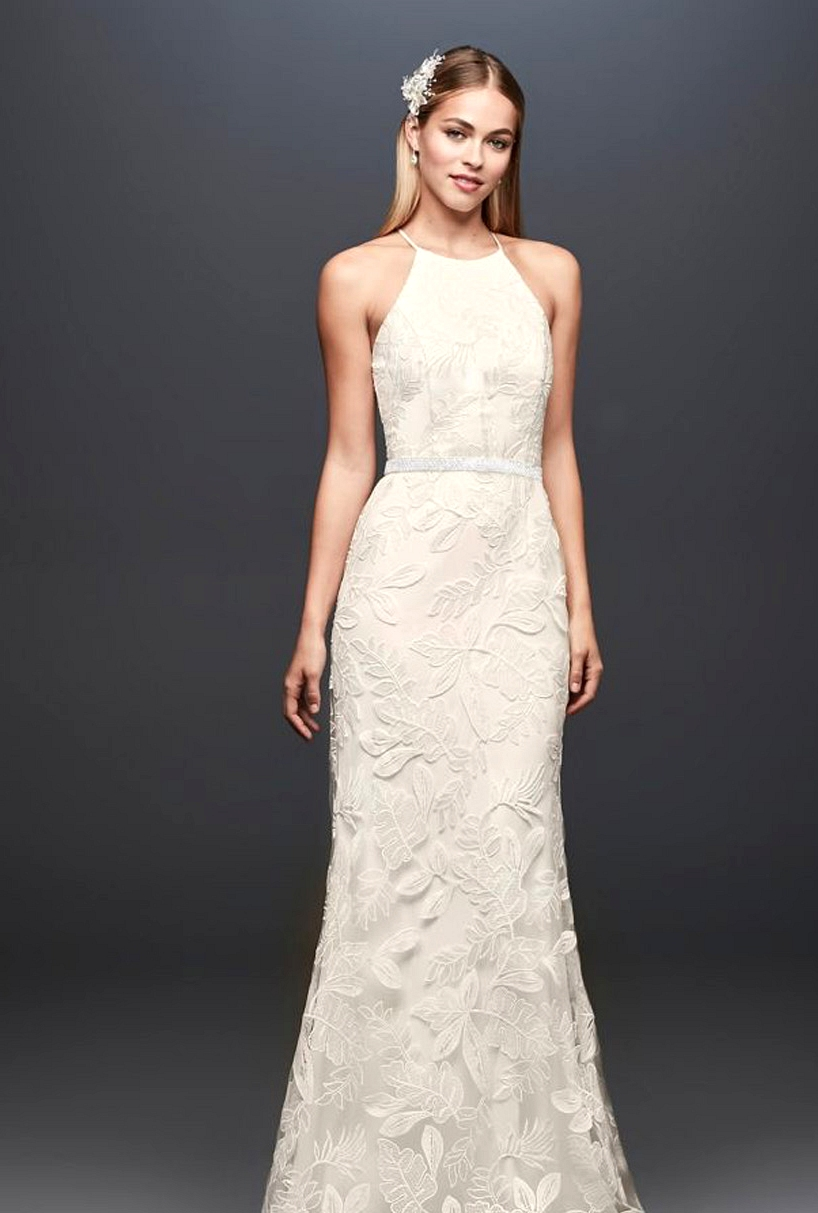 David's Bridal Sequin Leaf-Appliqued Gown
