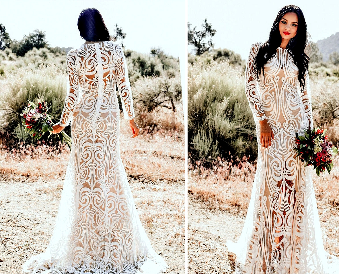 boho graphic lace Etsy wedding dress