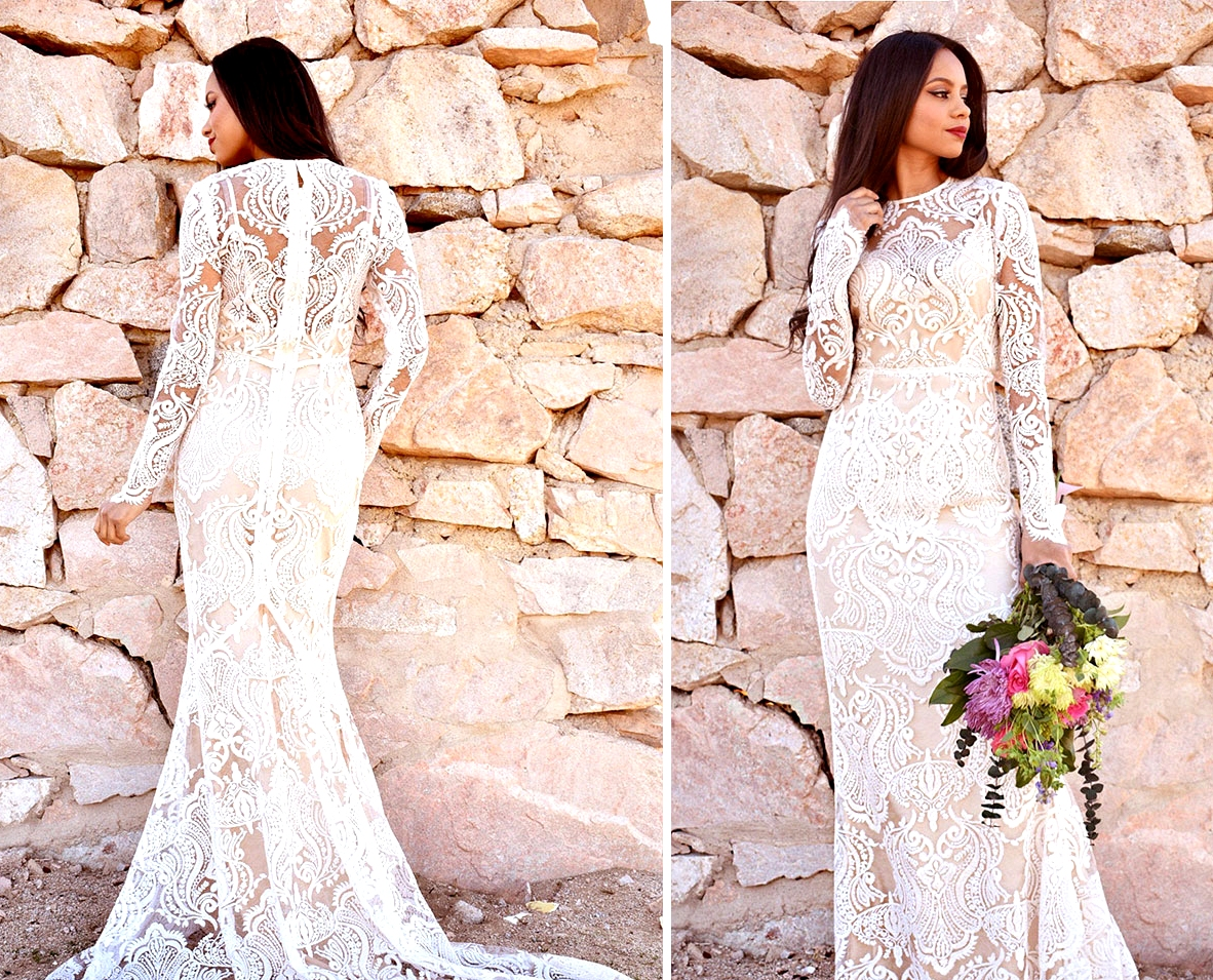 long sleeved boho Etsy wedding dress