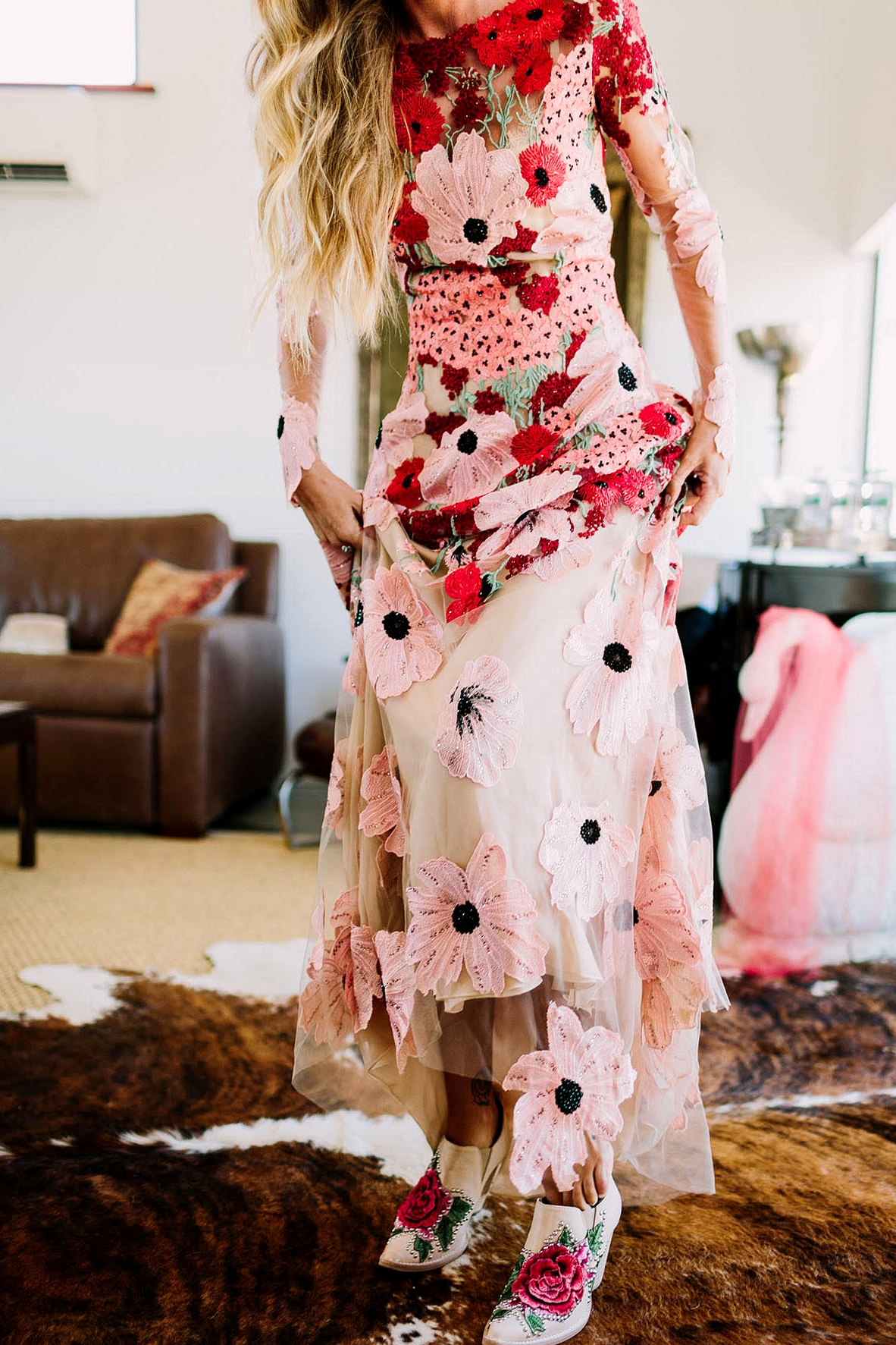 Red and pink floral embroidered wedding dress