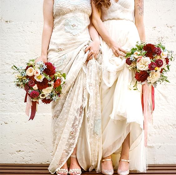 Same Sex Wedding Bouquet and Boutonnière Ideas  