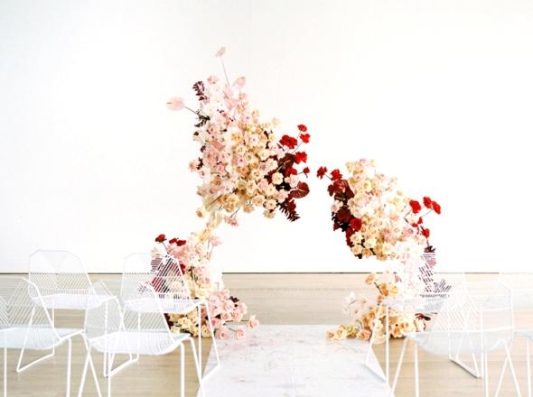 Modern floral wedding ceremony backdrop |