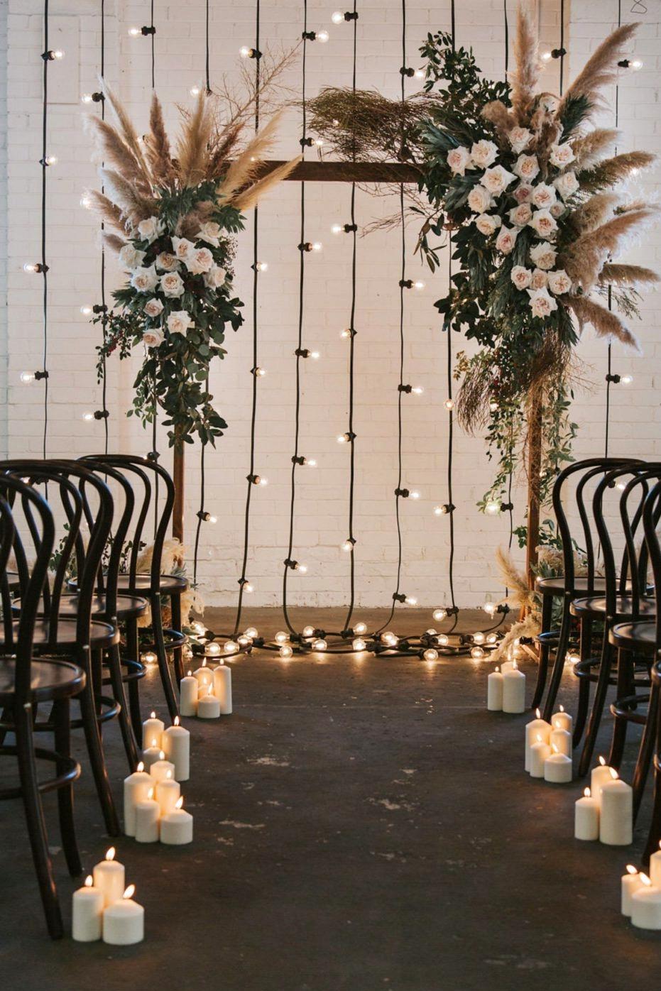 Wedding Ceremony Backdrops | Festoon lighting