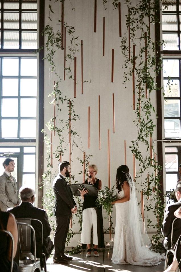 Copper wedding ceremony backdrop |