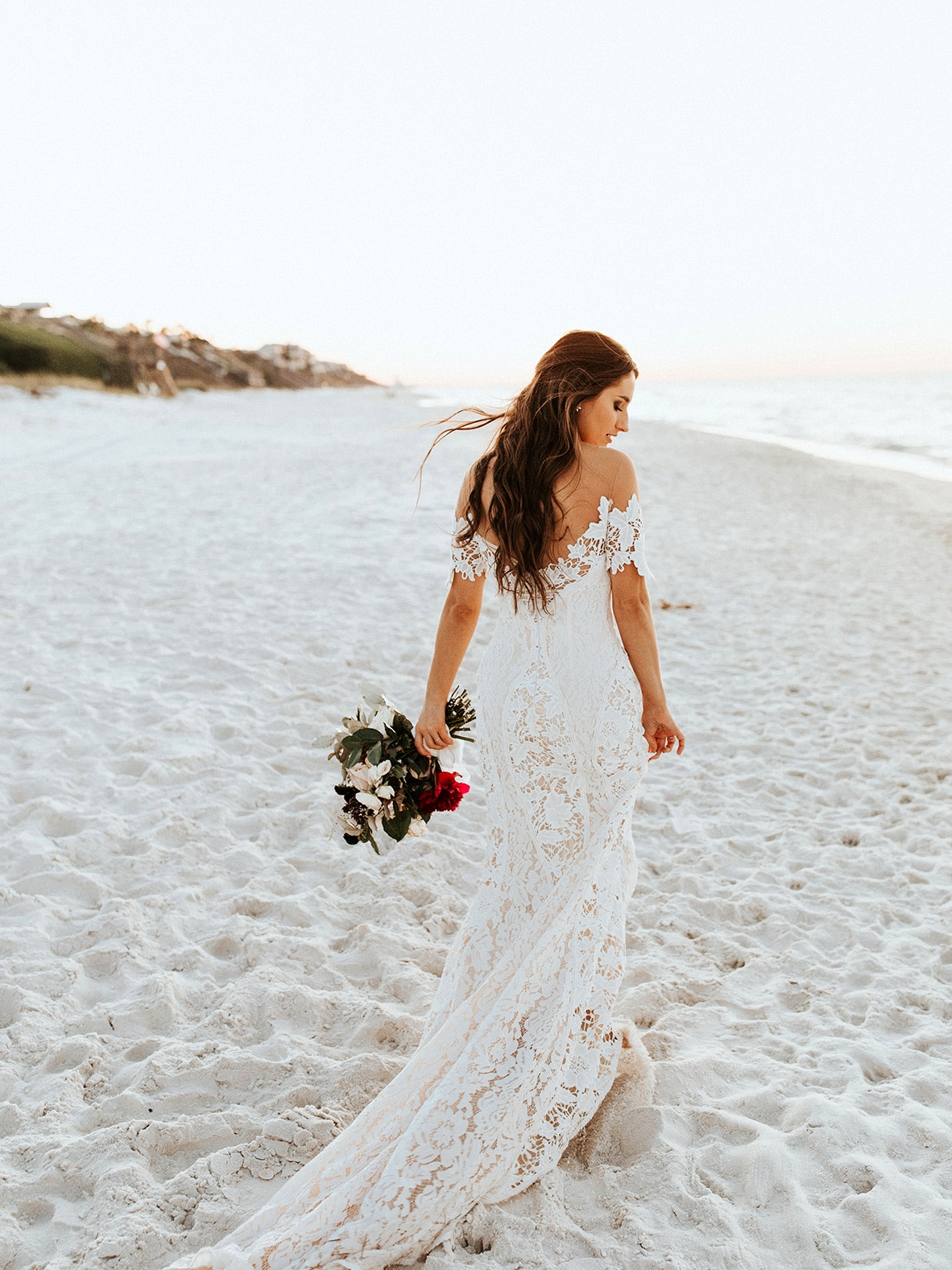 Carter Lace Wedding Dress by Lovers Society and Green Wedding Shoes on the Beach