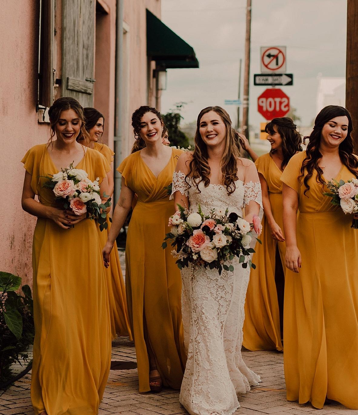 mustard bridesmaids dresses