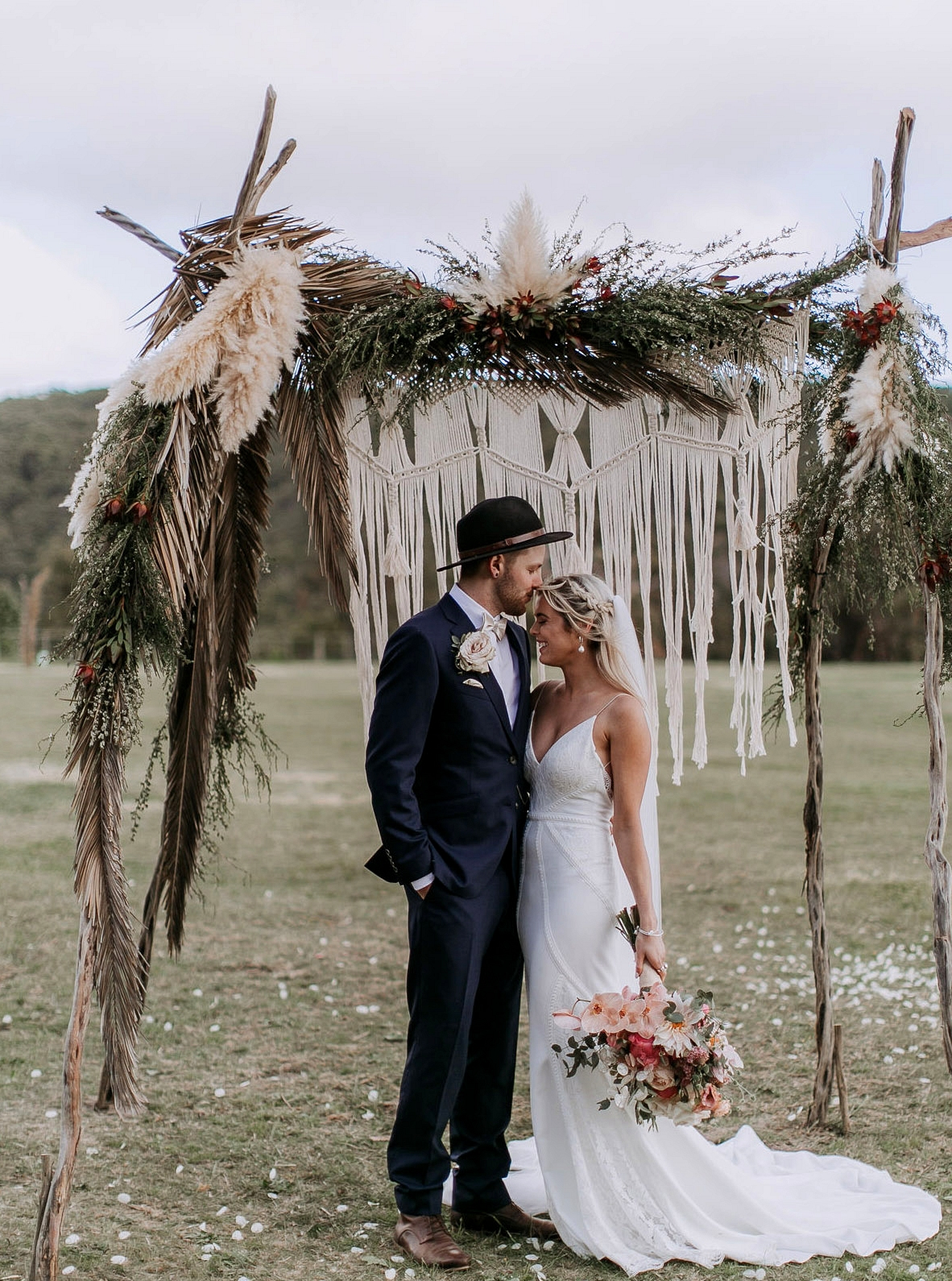 Wyatt Gown by Green Wedding Shoes and Lovers Society with pampas arch