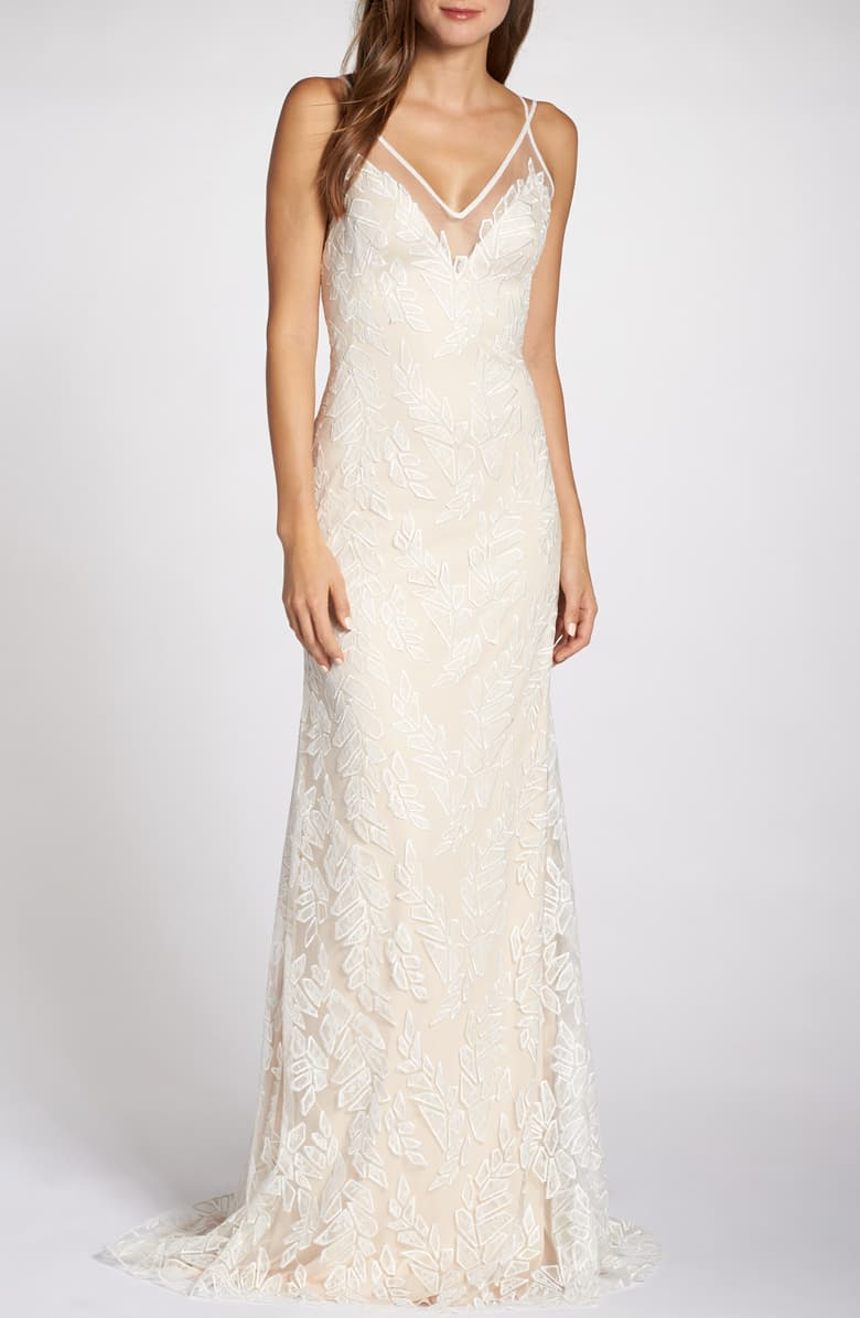 "TADASHI SHOJI Lace Appliqué V-Neck Tulle Wedding Dress, Main, color, IVORY/ PETAL SIZE INFO True to size. DETAILS & CARE 60"" length Hidden back-zip closure V-neck Sleeveless Column skirt with slight train Lined 60% polyester, 40% nylon Dry clean Imported Wedding Suite Item #5775445 Helpful info: The Best Dress for Your Body Type Free Shipping & Returns See more (2) Lace Appliqué V-Neck Tulle Wedding Dress"