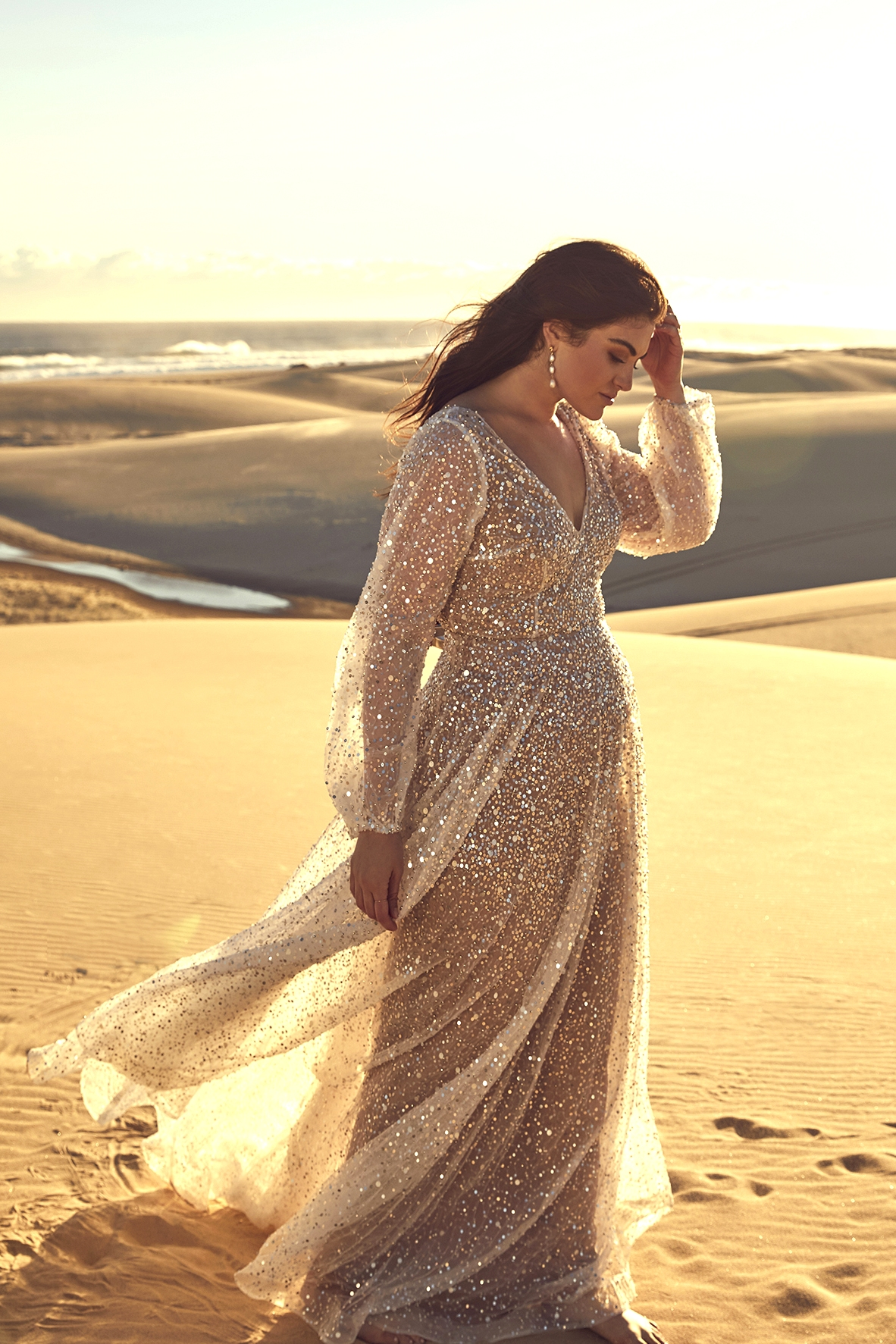 bride in Curve sequined wedding dress from CHOSEN by One Day