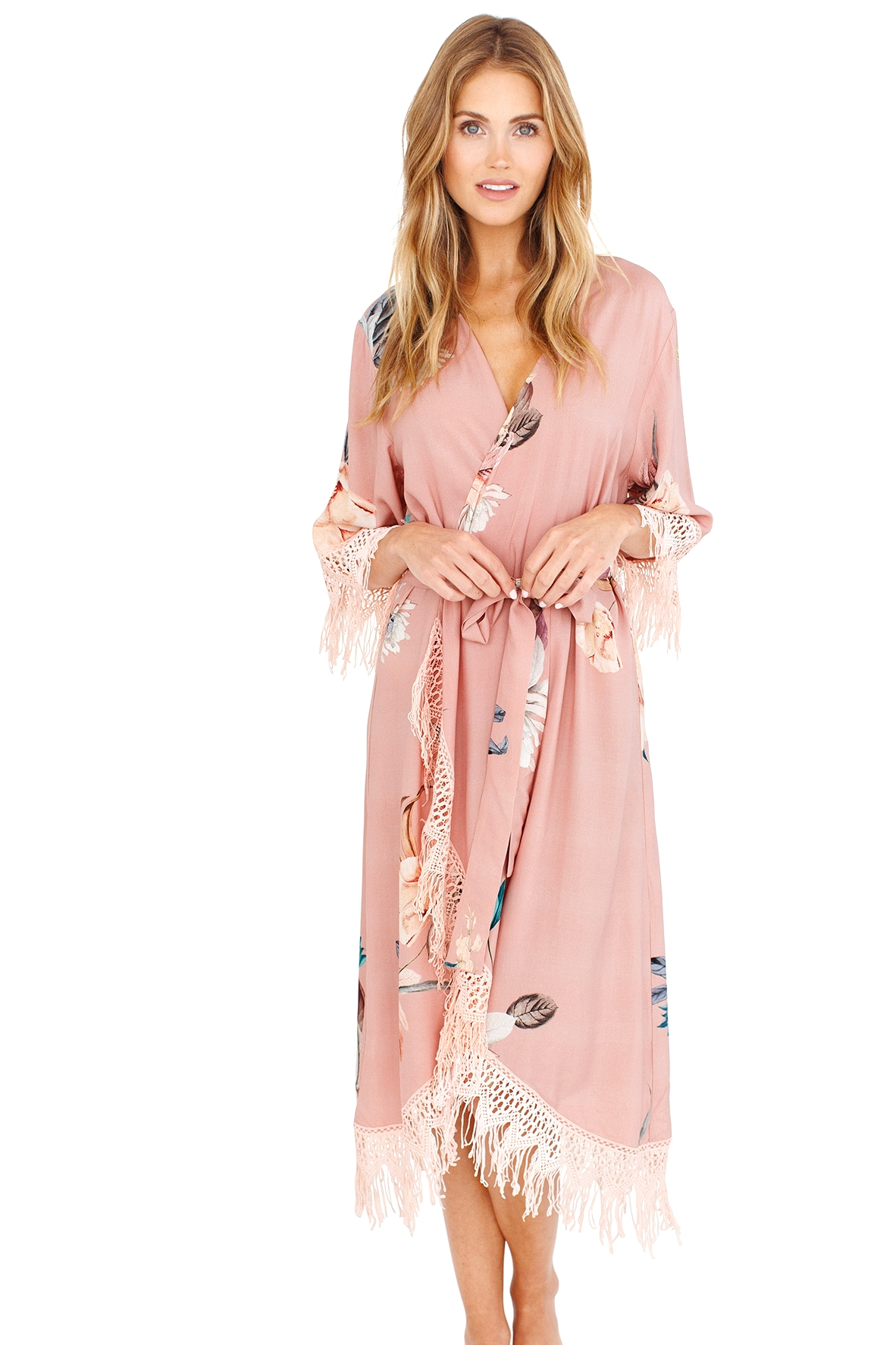 floral robe for bridesmaids and bride, fringed robe, pink robe