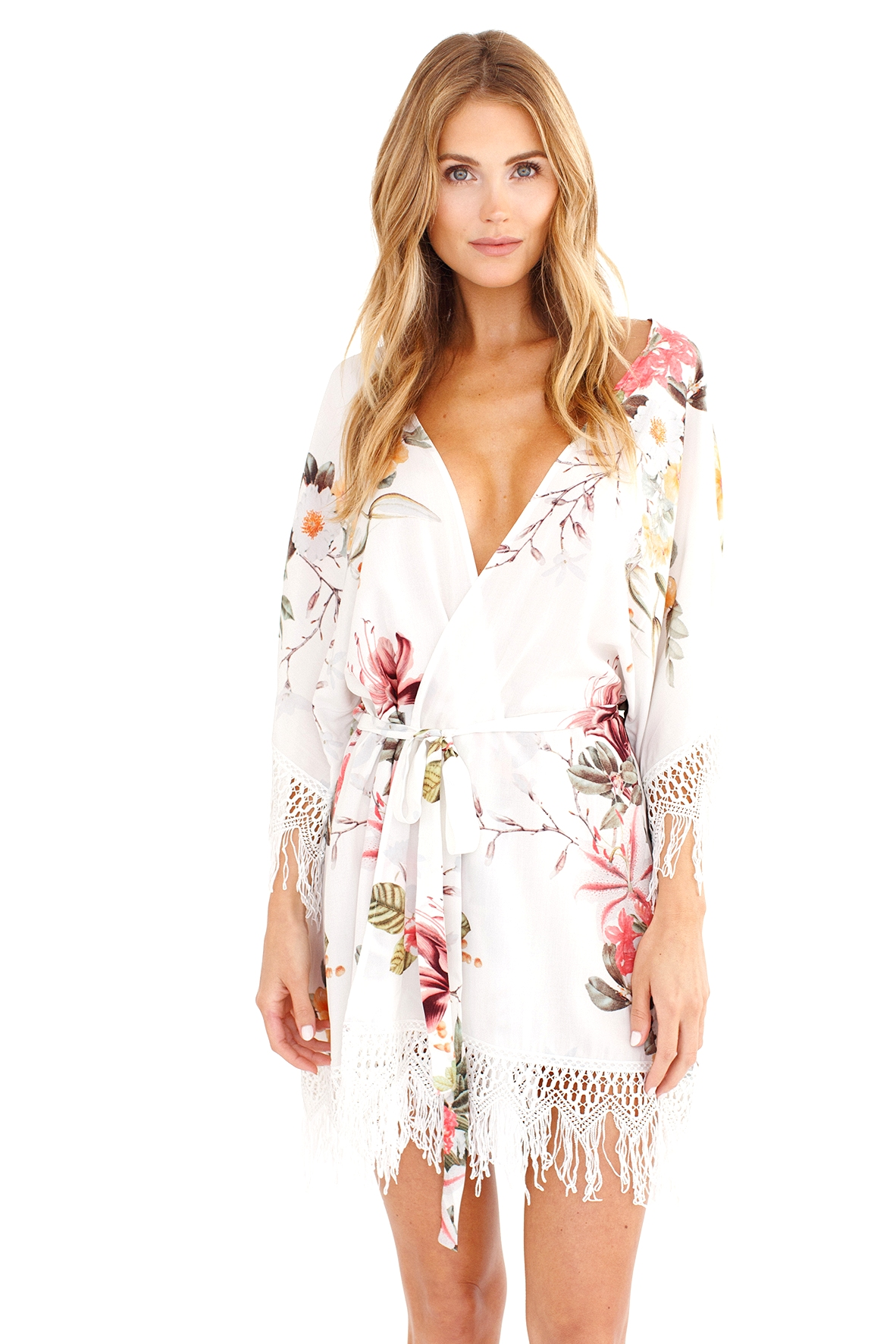 floral robe for bridesmaids and bride, fringed robe, white robe