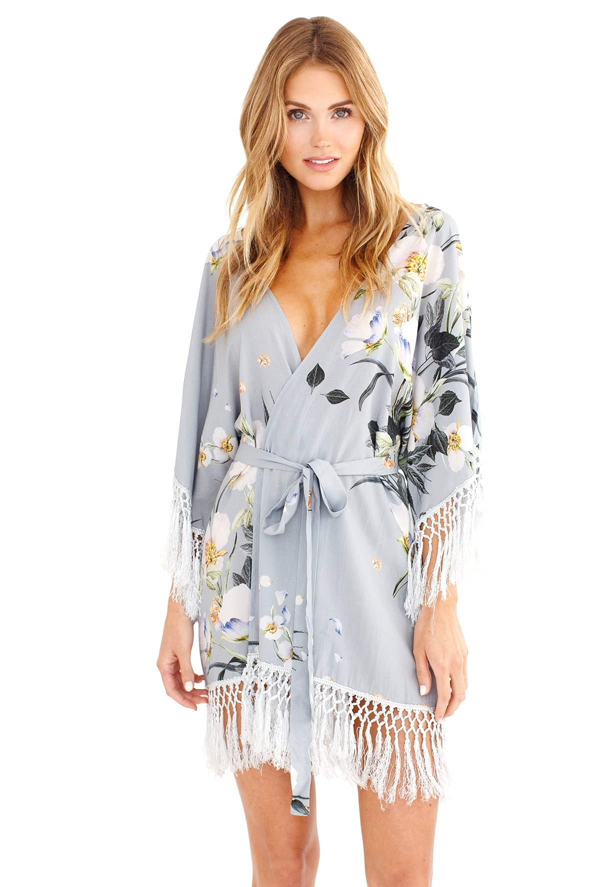 floral robe for bridesmaids and bride, fringed robe, blue robe