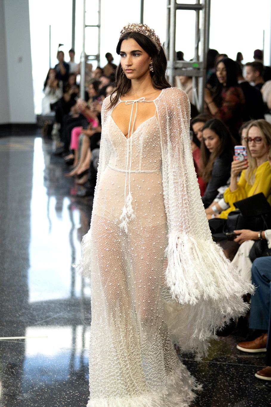 Berta Wedding Dress with Fringe and Cape