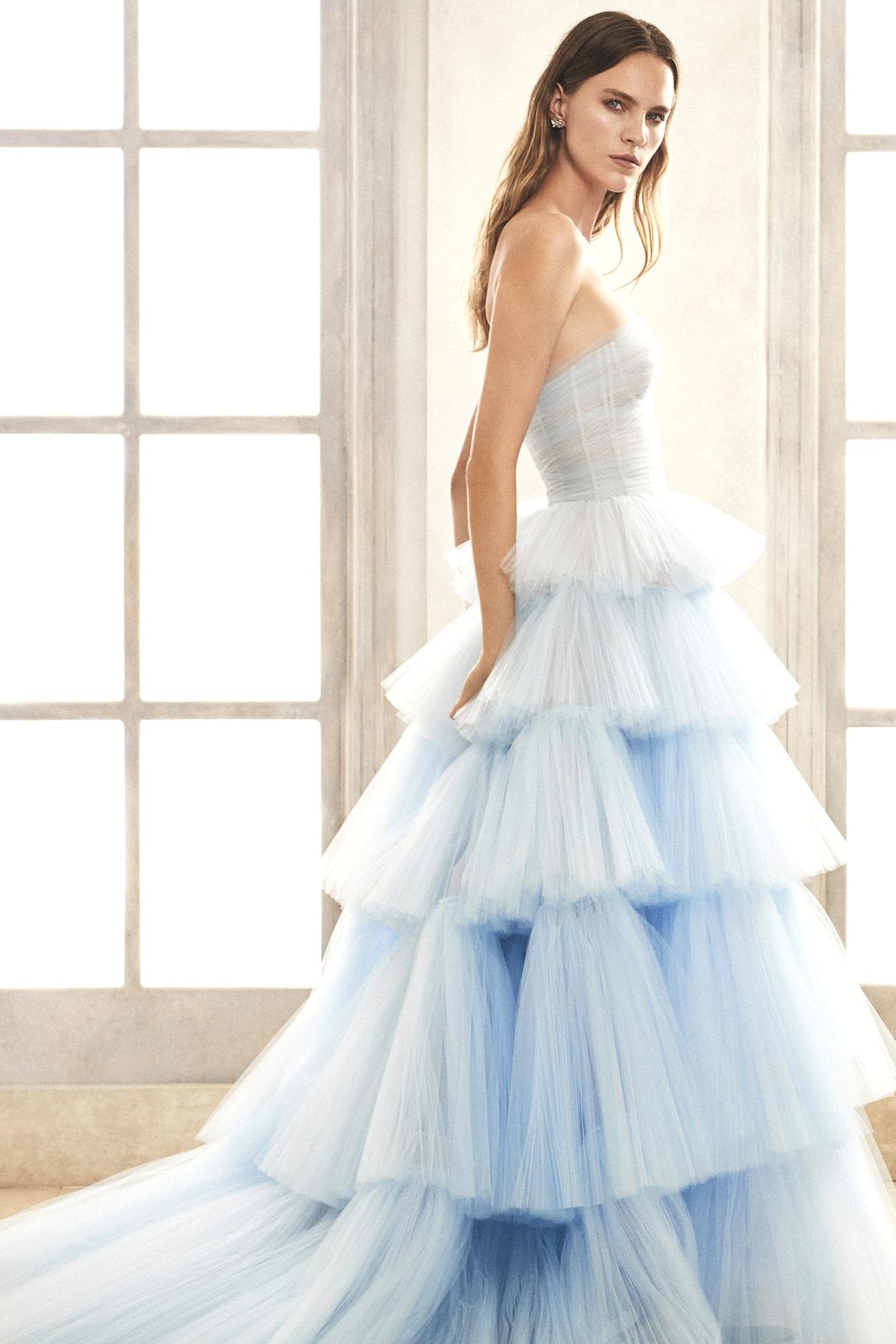Oscar de la Renta Blue Ruffles Wedding Dress