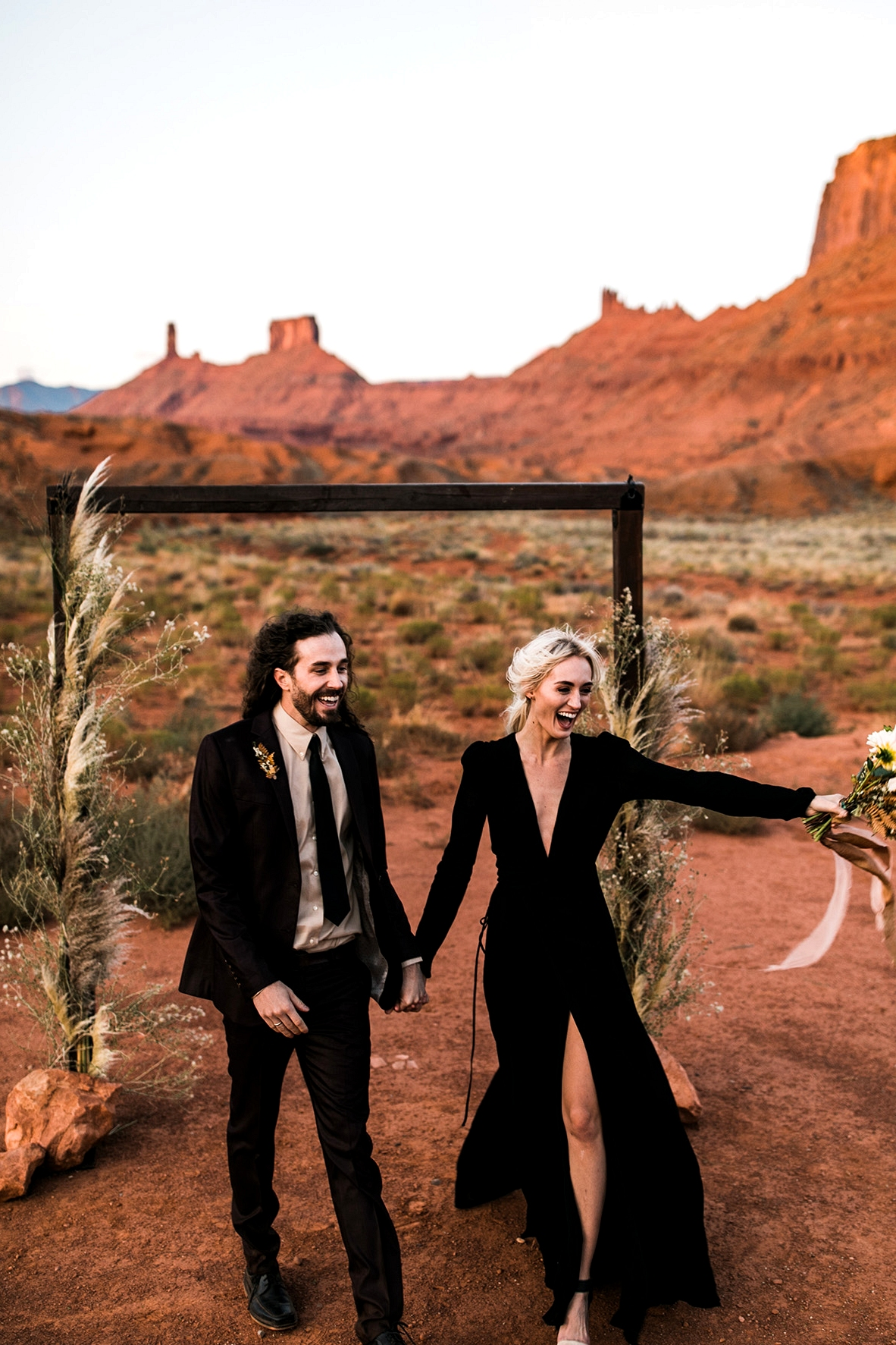 Moab Elopement with a Black Wedding Dress