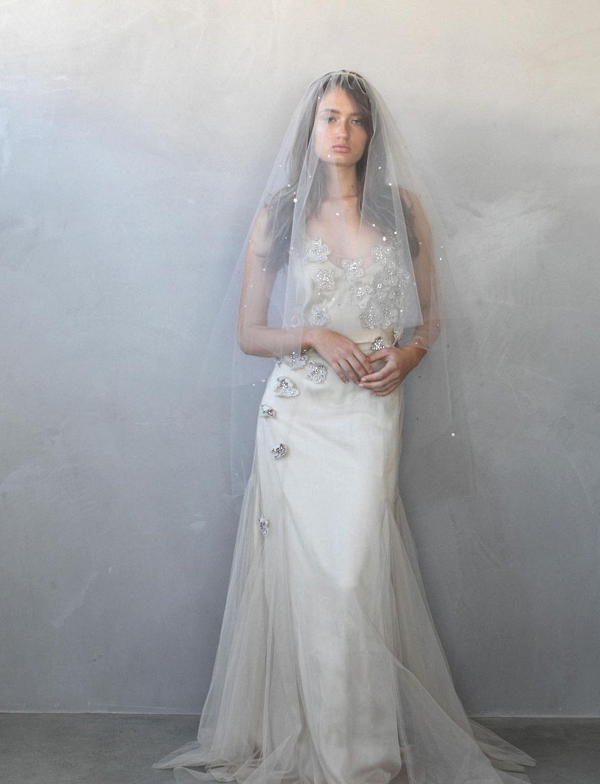 textured bridal veil