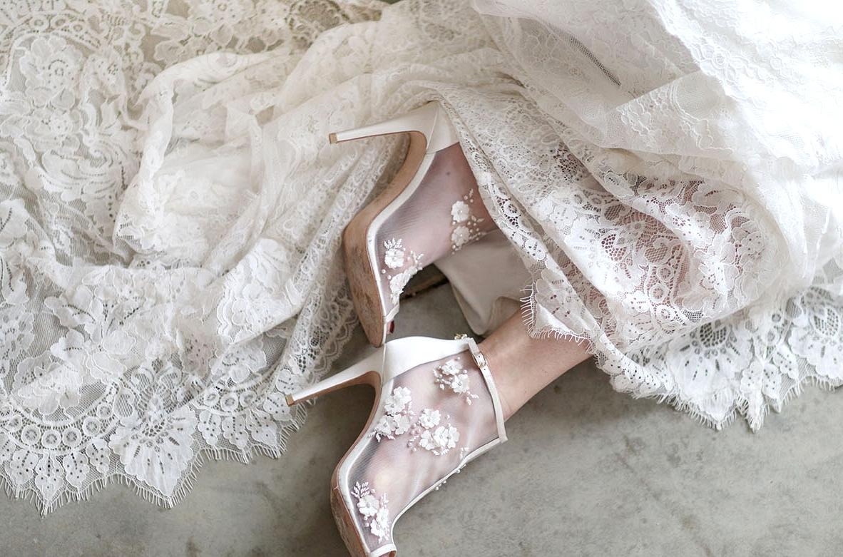 sheer floral heels