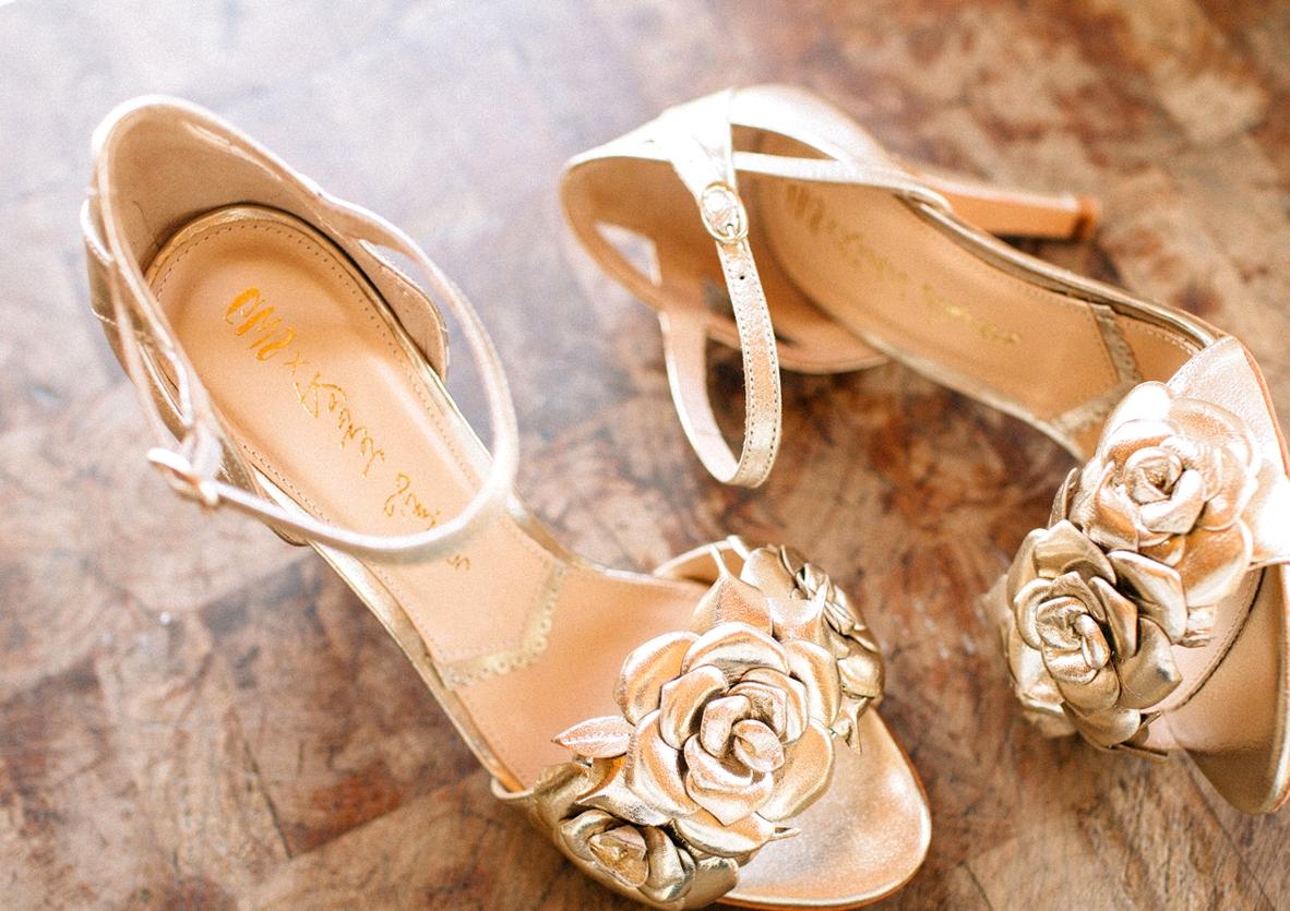 GWS Rachel Simpson Zadie Gold Flower Shoes