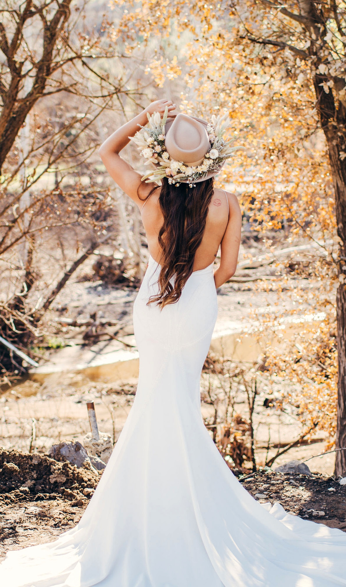 Lovers Society x Green Wedding Shoes Wyatt Wedding Dress with a floral hat