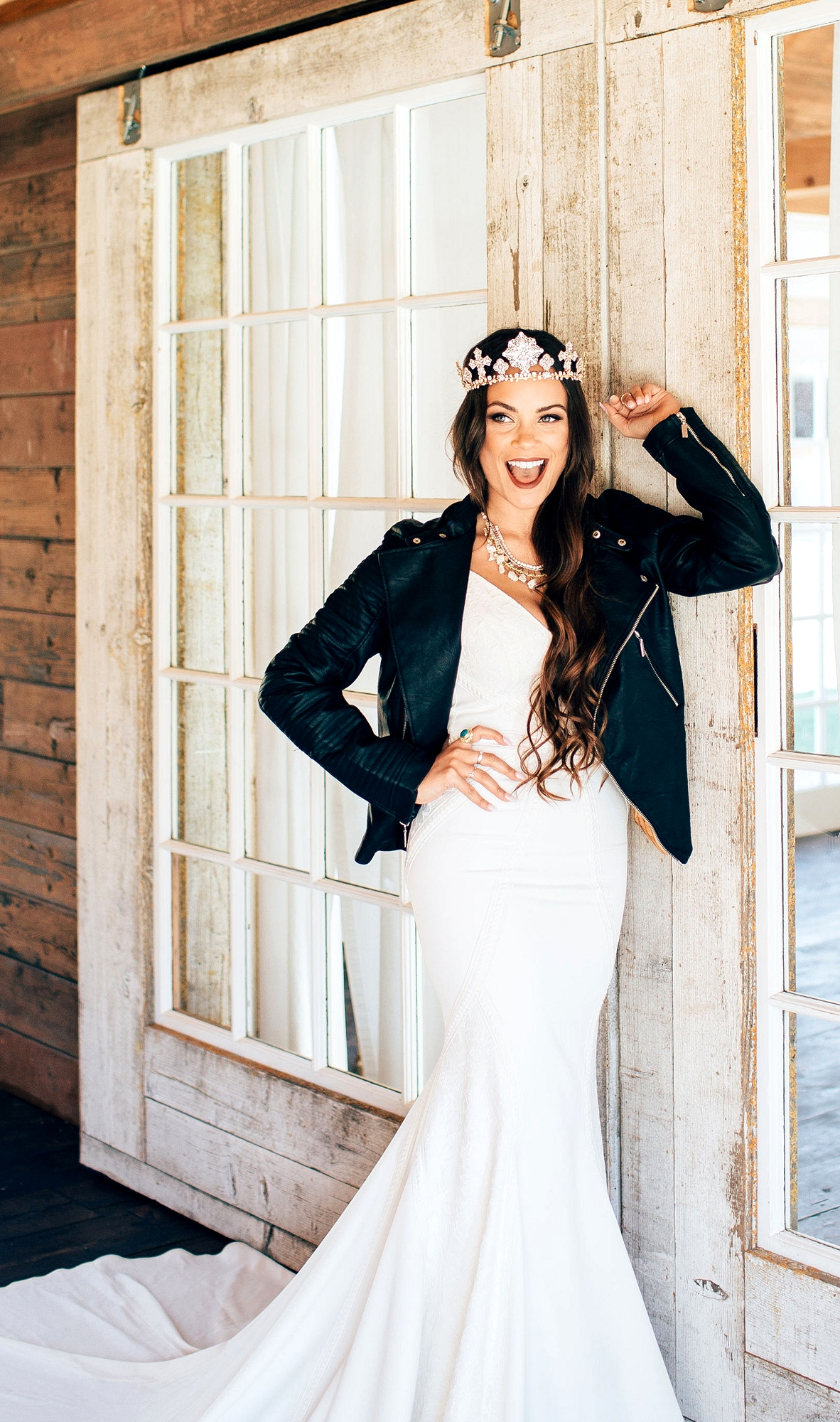 Lovers Society x Green Wedding Shoes Wyatt Wedding Dress with a leather jacket and crown