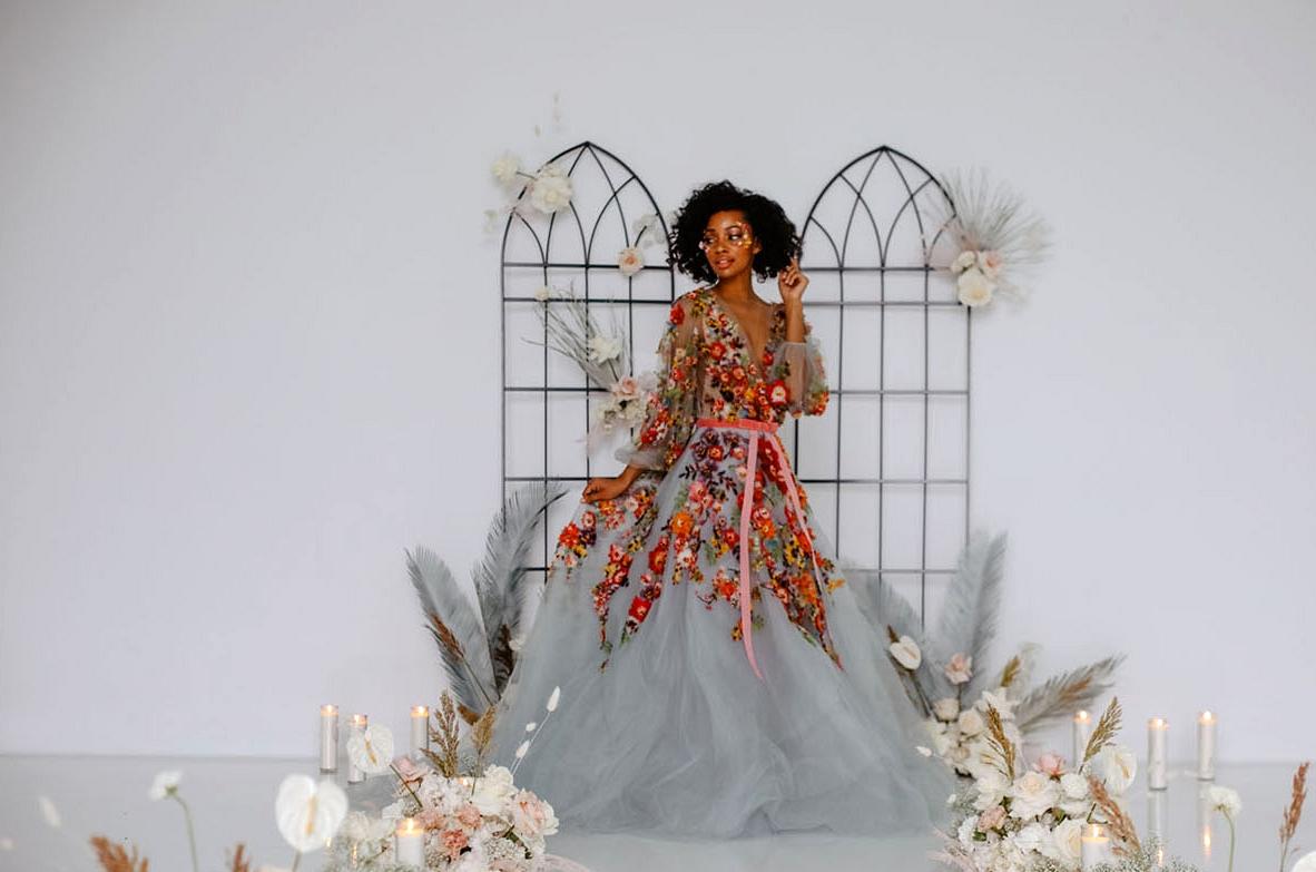 Colorful Marchesa Wedding Dress