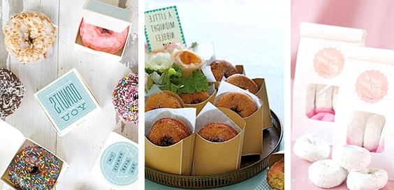 Donuts // 13 Sweet Edible Wedding Favour Ideas // www.onefabday.com