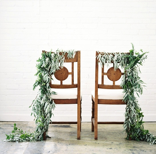 Simple Winter Wedding DIY Projects // Foliage Chair Garlands //
