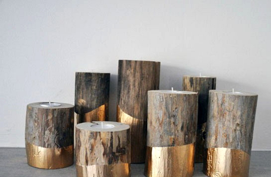 Simple Winter Wedding DIY Projects // Gold-Dipped Log Candleholders //