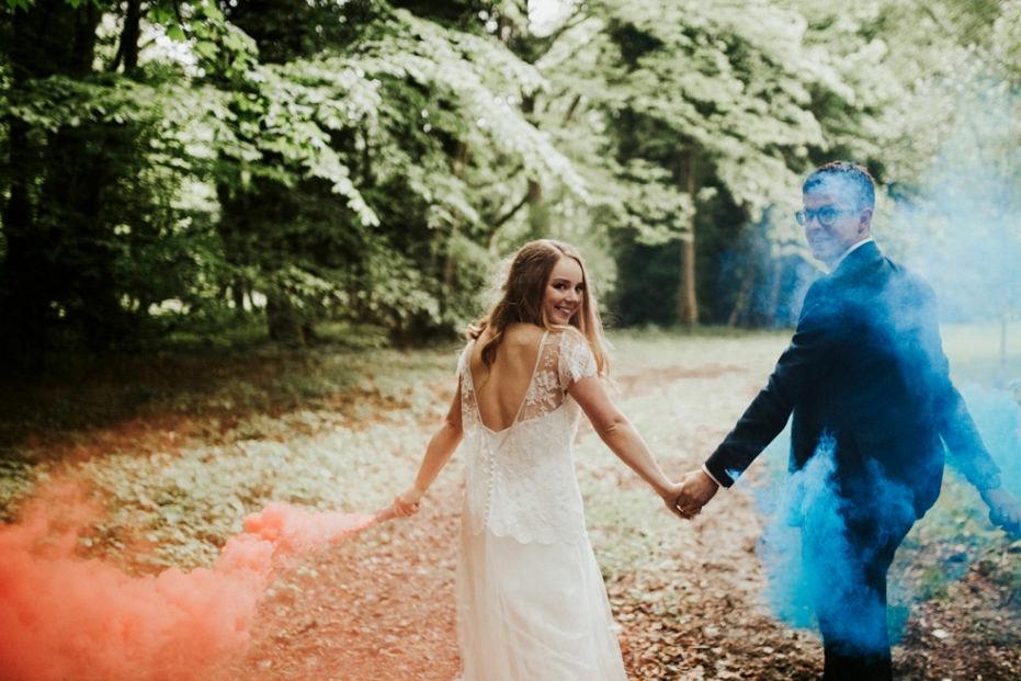 blue orange smoke bomb wedding photographs in sligo