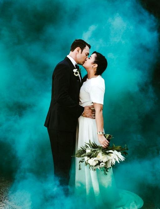 teal green smoke bomb wedding photographs