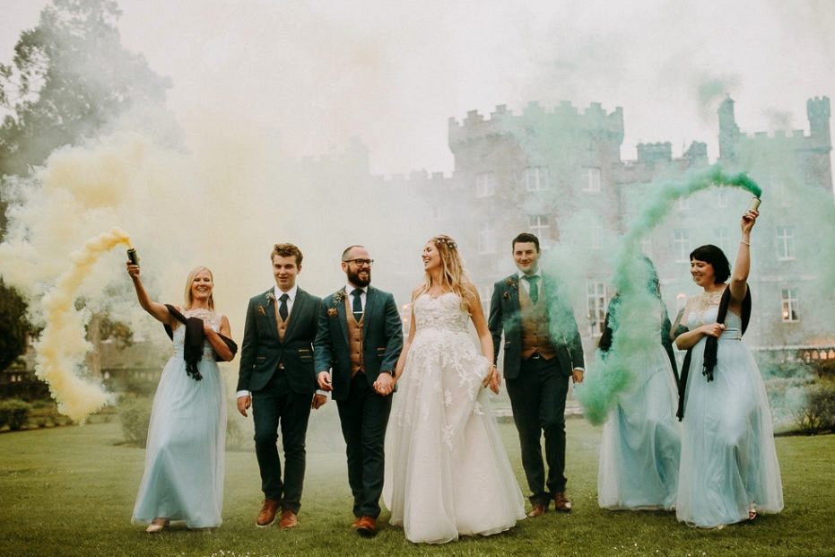 smoke bomb wedding photographs in sligo