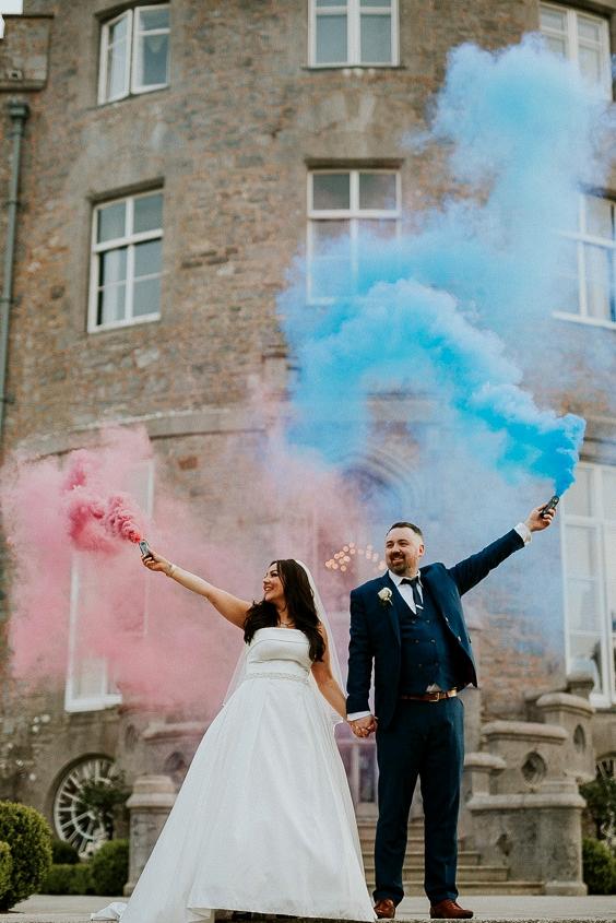 blue pink smoke bomb wedding photographs in sligo
