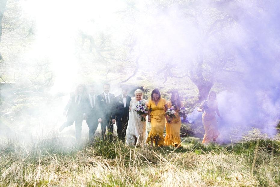 purple white smoke bomb wedding photographs