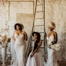 Three Boho-Vintage Brides Showing Off Gorgeous Black Wedding Hairstyles