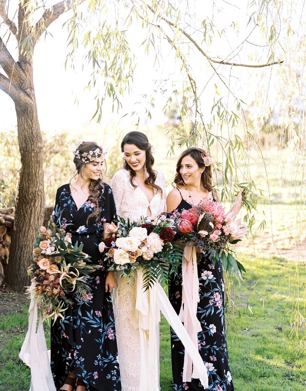 Show Me Your Mumu x Green Wedding Shoes bridesmaids dresses with a Daughers of Simone gown