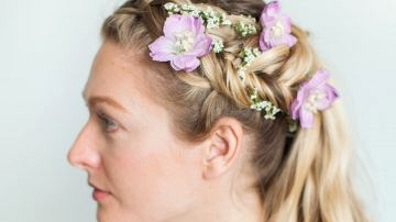 Hair Tutorial: Double Dutch Fishtail Pony with Contemporary Flowers