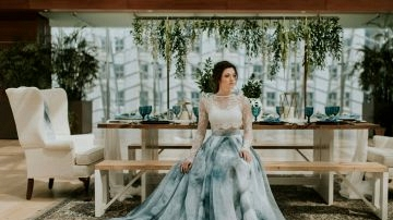 A Blue Watercolor Wedding ceremony Gown
