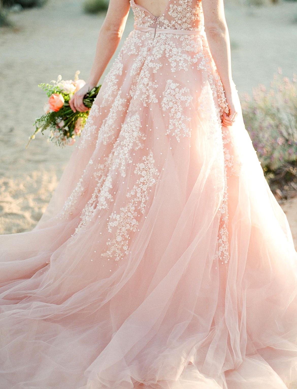 blush tulle wedding dress