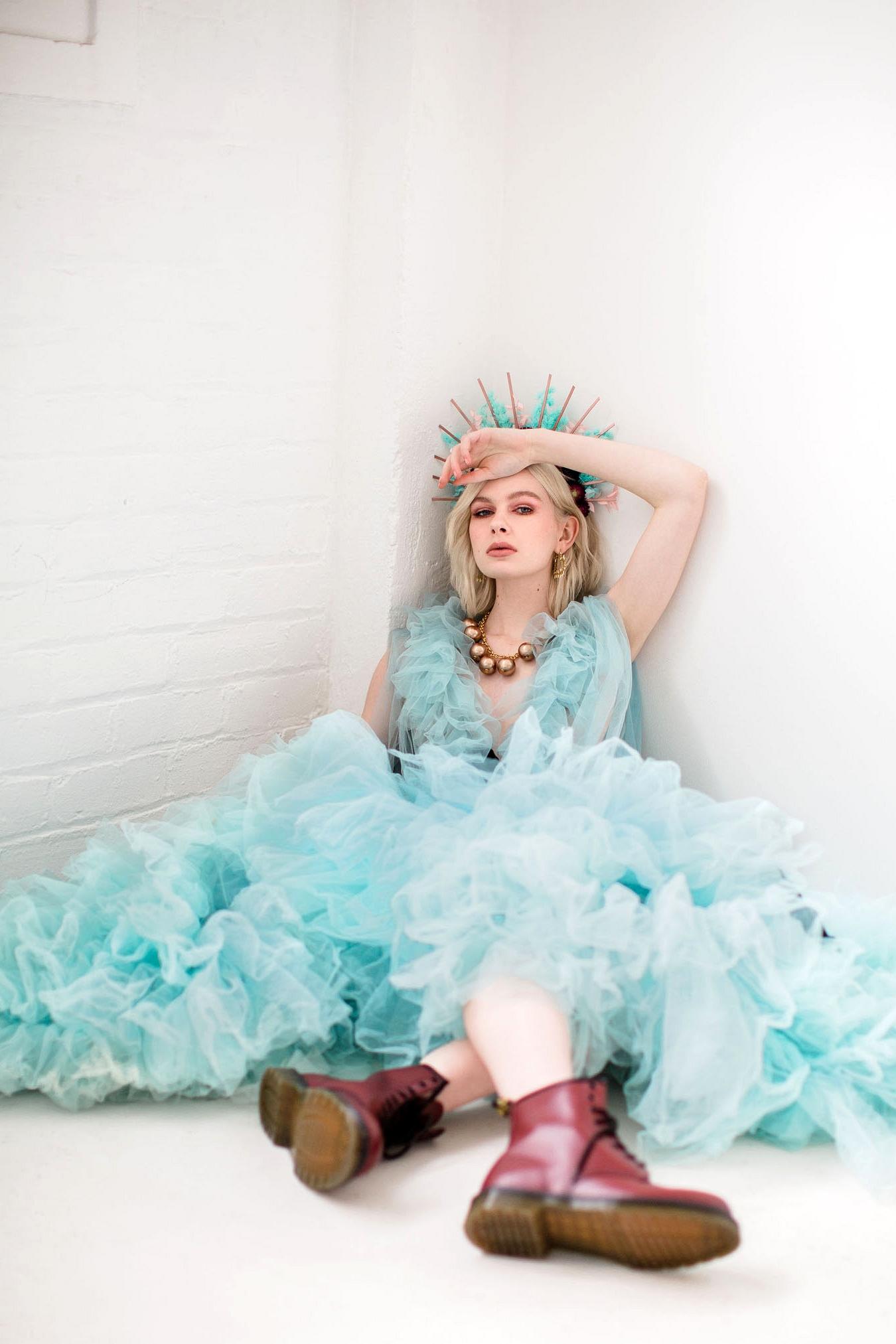 Blue Ruffle Gown Wedding Inspiration