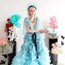 A Blue Wedding Dress + Bold Flowers for the Edgy Bride