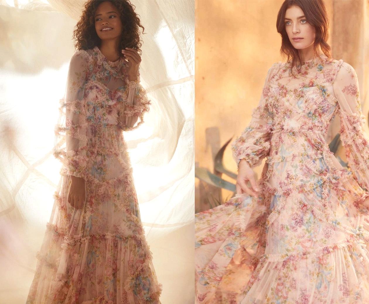 peach floral wedding dress